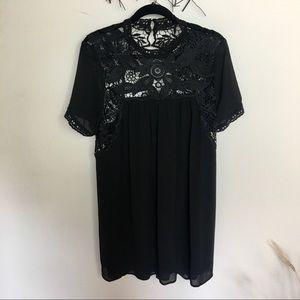 Romantic boho open back mini dress black ENTRO